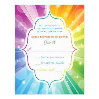 Rainbow Colors Striped Sunburst Wedding RSVP Card