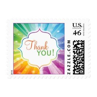 Rainbow Colors Striped Sunburst Wedding Thank You Postage Stamp