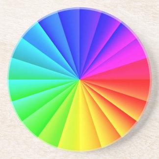 Rainbow colors stripes pattern coaster