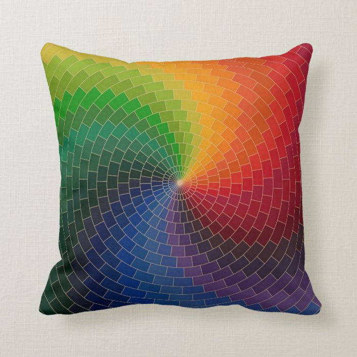 Throw Pillows Primary Colors : RAINBOW COLORS THROW PILLOW Zazzle