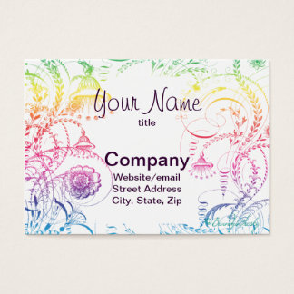 Rainbow Colors Vintage French Toile Design Business Card