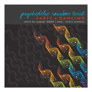 Rainbow Colors Wavy Abstract Twist Party Invite
