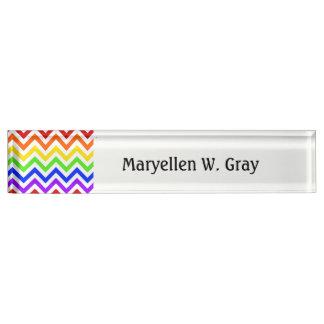 Rainbow Colors, White Large Chevron ZigZag Pattern Desk Name Plate