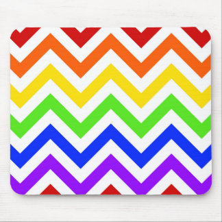 Rainbow Colors White Large Chevron ZigZag Pattern Mouse Pad
