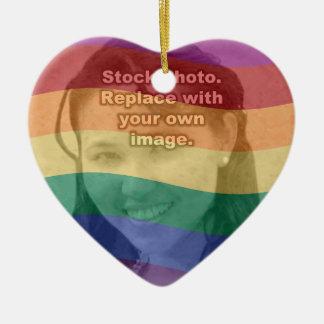 Rainbow Colors Your Photo Ceramic Ornament