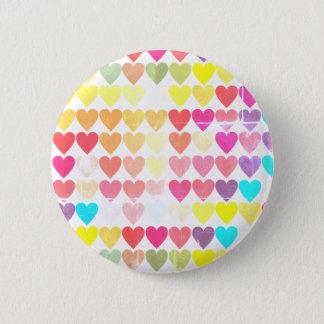 Rainbow Colour Hearts All Over Button