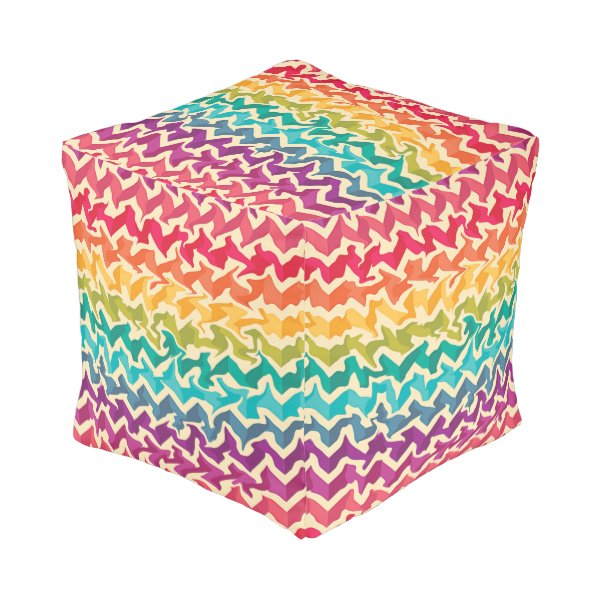Rainbow coloured abstract ottoman