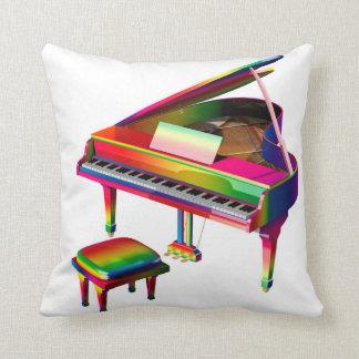 Rainbow Coloured Piano Throw Pillow
