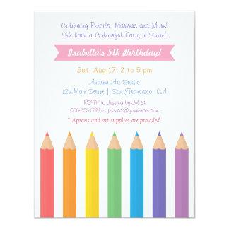 Rainbow Colouring Pencils Arts Kids Birthday Party Card