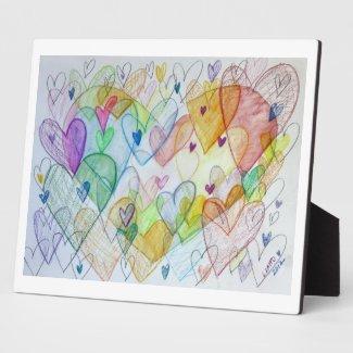 Rainbow Community Hearts Art Print Plaques