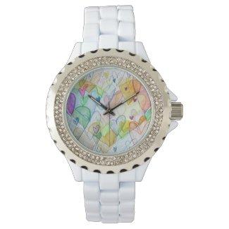 Rainbow Community Hearts Custom Art Watch Design