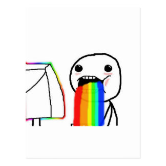 Rainbow Computer Face Guy Post Cards
