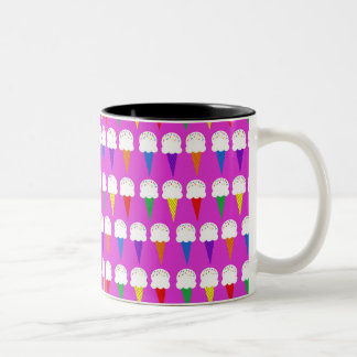 Rainbow Cones on Purplish Pink Two-Tone Coffee Mug