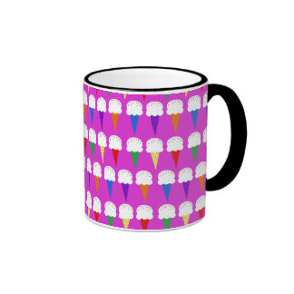 Rainbow Cones on Purplish Pink Ringer Coffee Mug