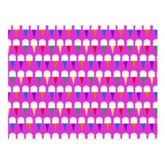 Rainbow Cones on Purplish Pink Postcard