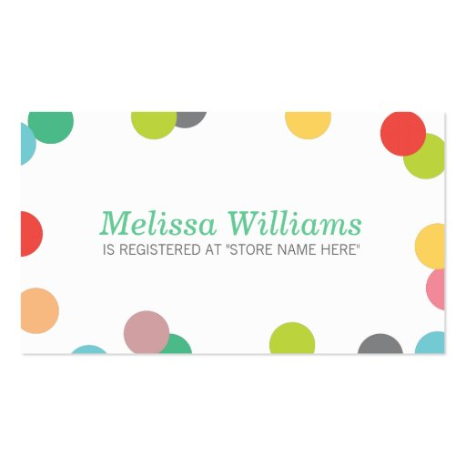 rainbow confetti baby shower registry insert card double