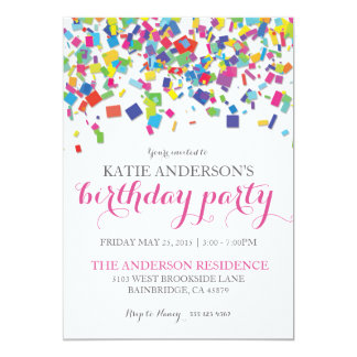 Rainbow Confetti | Birthday Party Invitation