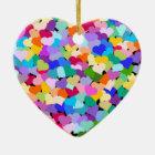 Rainbow Confetti Hearts Heart shaped ornament