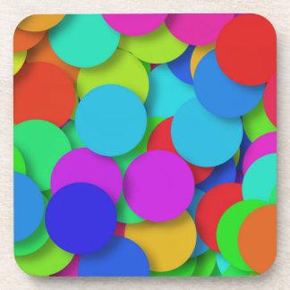Rainbow Confetti Pattern Beverage Coaster
