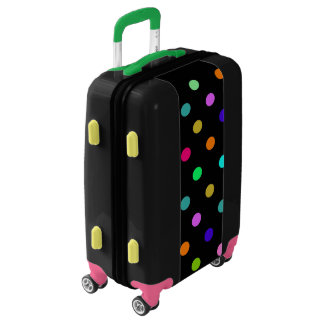 Rainbow confetti polka dots luggage