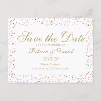 Rainbow Confetti Save the Date Announcement Postcard