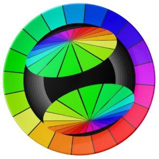 Rainbow Contemporary Art Color Wheel Collectors Plate