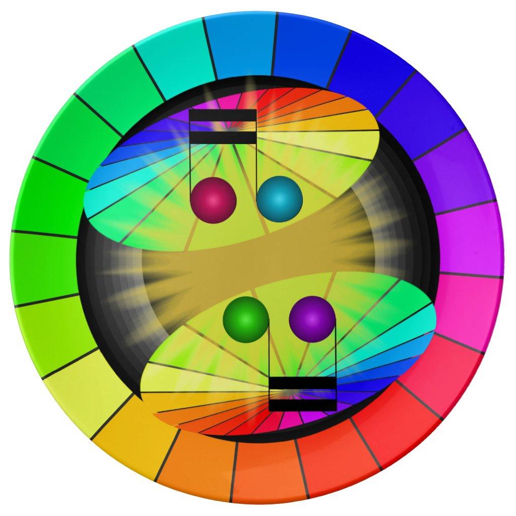 Rainbow Contemporary Musical Color Wheel Plates