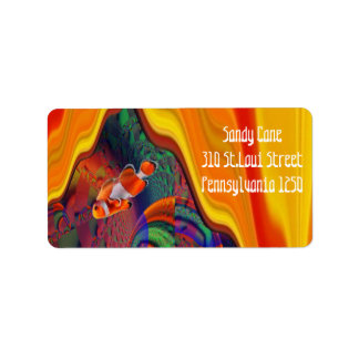 Rainbow Coral Reef Abstra Art Clownfish Label