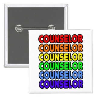 Rainbow Counselor 2 Inch Square Button