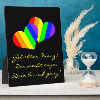 Rainbow Couple Hearts Plaque