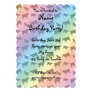 Rainbow cow pattern 5x7 paper invitation card