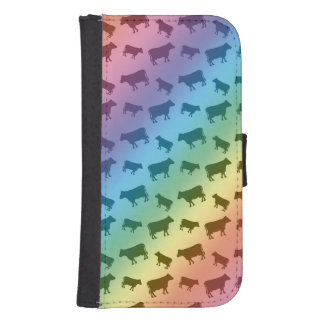 Rainbow cow pattern wallet phone case for samsung galaxy s4