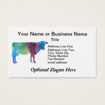 Rainbow Cow With Customizable Text Business Card