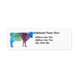 Rainbow Cow With Customizable Text Label