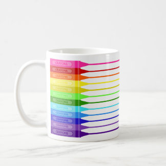 Rainbow Crayon Fun Stripes Classic White Coffee Mug