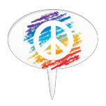 Rainbow Crayon Peace Symbol Cake Topper