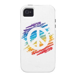 Rainbow Crayon Peace Symbol Vibe iPhone 4 Case