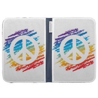 Rainbow Crayon Peace Symbol Case For Kindle