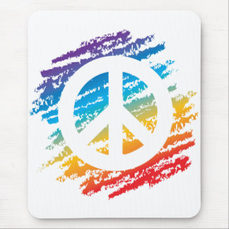 Rainbow Crayon Peace Symbol Mouse Pad