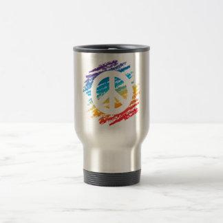 Rainbow Crayon Peace Symbol 15 Oz Stainless Steel Travel Mug