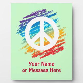 Rainbow Crayon Peace Symbol Plaque