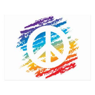 Rainbow Crayon Peace Symbol Postcard