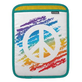 Rainbow Crayon Peace Symbol Sleeve For iPads