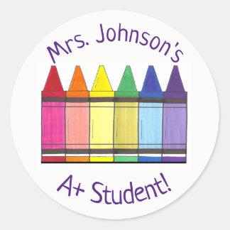 Rainbow Crayon Personalized A+ Student Art Teacher Classic Round Sticker
