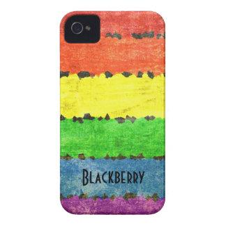 Rainbow Crayon Stripes - GLBT Pride Personalized Blackberry Bold Case