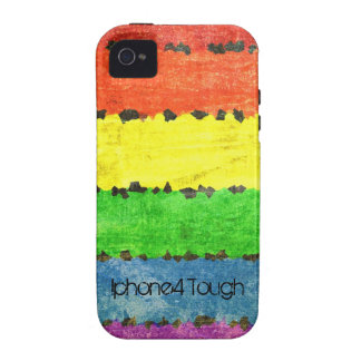 Rainbow Crayon Stripes - GLBT Pride Personalized Case-Mate iPhone 4 Case