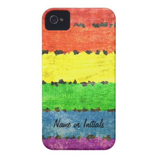 Rainbow Crayon Stripes - GLBT Pride Personalized! iPhone 4 Case-Mate Case