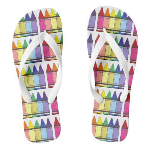 Rainbow Crayons Art Teacher Artist Color Flip Flop Flip Flops