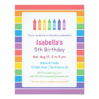 Rainbow Crayons Arts Crafts Kids Birthday Party 4.25x5.5 Paper Invitation Card