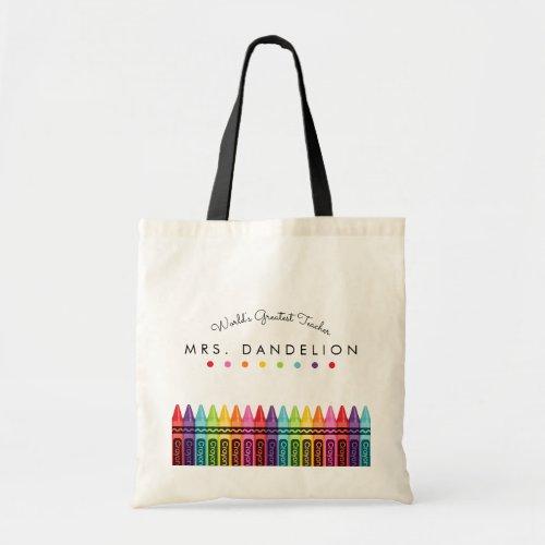 Rainbow Crayons Kindergarten Teacher Gift Tote Bag